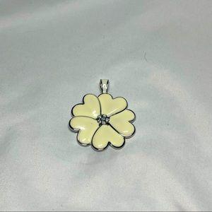 Lia Sophia heart/ flower ivory pendant